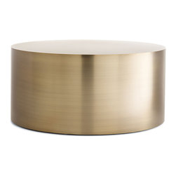 "Drum Coffee Table - ""Furniture that is too obviously designed,"" said Milo Baughman, ""is very interesting, but too often belongs only in museums."" While we could certainly see his Drum Coffee Table (1970s) in a museum, it would earn its place there for its simplicity and lack of unnecessary ornamentation. Distilling the idea of an occasional table to its simplest form, Baughman's cylindrical design draws you in with its smoothness and warmth. The quality construction includes edges that are welded, ground and polished by hand until there is a perfect transition from the side to the top. Leveling floor glides compensate for uneven surfaces. Made in U.S.A."