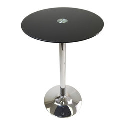 Winsome Wood - Rossi Round Pub Table - Black tempered glass top. Chrome legs and pedestal base. Assembly required. 23.62 in. Dia. x 39.13 in. H. Perfect additional for your kitchen or game room.
