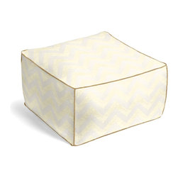 Gold Metallic & Ivory Chevron Custom Pouf - The Square Pouf is the hottest thing in decor since the sectional sofa. This bean bag meets Moroccan style ottoman does triple duty as a comfy extra seat, fashion-forward footstool, or part-time occasional table.  We love it in this pale gold metallic chevron on white linen that adds subtle shimmer to any space.