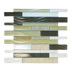 Milan Glass Mosaic, Grey - Rippled glass in grey tones entwined with neutral stone for that soothing look.