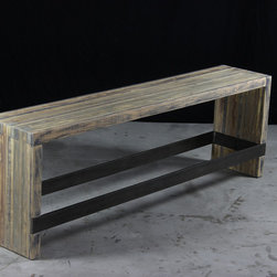 bento bar/counter bench - the bar/counter bench is a clever alternative to the typical bar stool - ideal for entertaining guests at your kitchen island or bar, or for extra seating in a pinch. the bar/counter bench is pictured in the aged wood finish with darkened steel legs.