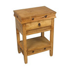 """Rustic Pine Side Table - Accented with rustic iron nailheads and hardware, this pine side table works as a nightstand or as an end table. Shipping included. 18"""" w x 13"""" d x 28"""" h"""
