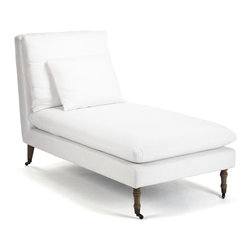 Kathy Kuo Home - Maison Blanche White Cotton Coastal Beach Chaise Lounge - Chaise away your cares as you bask in the beauty of our beach cottage lounge. Crisp, washed white cotton upholstery covers comfortable foam atop a solid oak frame. Casters make this chaise a moveable masterpiece, bringing your sweet spot wherever you need it.
