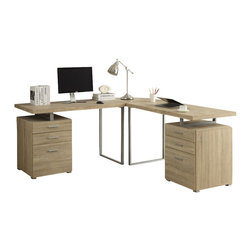Monarch Specialties - Monarch Specialties I 7226-3 Natural Reclaimed-Look 3 Piece Desk Set - Creating a striking look to your home office. This simple yet practical Natural reclaimed-look finish hollow-core 3pc desk set is the perfect addition to your home office. With the addition of the wedge corner unit between the desk, it helps to create space for a more generous work station. The mobile side drawers provide you with space to store office supplies, papers, books, files folders, and plenty more. Use the spacious table top for your computer, a lamp and even some pictures. Desk (2), Corner Wedge (1)