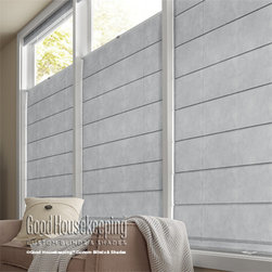 Good Housekeeping Flat Panel Roman Shades - The classic looks of fabric shades are now feature the Good Housekeeping name. The Good Housekeeping Roman Shades fabric collection is sure to impress and meet your design expectations. Choose from two panel styles: Flat and Hobbled. Flat panels feature clean modern lines while the hobbled panels add elegance with a traditional teardrop look. Good Housekeeping Roman Shades have a variety of hardware options like cordless and cordless top down-bottom up. All hardware styles conform to government and industry standards for child safety. Add a privacy liner to improve your desired light and privacy levels, keeping harmful UV rays and unwanted eyes out.