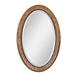 """Uttermost - Uttermost 07602 Capiz Oval Vanity Mirror - Heavily antiqued dark capiz shell with metal rope details. Mirror has a generous 1 1/4"""" bevel."""