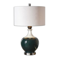 Uttermost - Cadeo Ceramic Table Lamp - Add an artistic touch to your end table, console or nightstand with this table lamp. The shapely base is made of ceramic that's highlighted with drip paint and brushed aluminum accents.