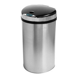 "iTouchless IT13HX Trashcan HX Stainless Steel 13 gal. Trash Can - Reduce the mess in your kitchen with the iTouchless IT13HX Trashcan HX Stainless Steel 13 Gallon Trash Can. This 100% touch-free trash can uses the AI Smart-Chip M technology to open the lid when it detects movement within 6 inches and it has the capacity to hold larger items with no problem. The Advanced Seal technology features sealed-away lid hinges for better performance and easier cleaning as well as longer-lasting and quieter lid operation. The 13-gallon HX trash can is constructed from durable stainless steel with a brushed silver finish. It has a space-saving semi-round shape which holds 13-gallon trash bags. Its removable top cover allows for easy cleaning. It also helps prevent contamination which reduces the threat of certain illnesses and infections. The water-resistant sensor guard prevents liquid and stain damage. Even better your kids will have the enjoyment of throwing the trash away into the """"magically"""" opening container. Other features include a dust-resistant lid air-escape holes at the base for trash bag removal and a carrying handle for easy lifting. Uses 4 D-size batteries (not included) with an optional AC power adapter. The lid has a three-year warranty. Dimensions: 14L x 12.5W x 25.25H inches.About iTouchlessiTouchless Housewares & Products creator of the Touchless Trashcan EZ Faucet and Towel-Matic manufactures and distributes a line of innovative products for your home and office. Their mission: to make people's lives a little easier by using their products. Over the last 15 years iTouchless has established a solid foundation and assembled multiple factories in Asia to support the increasing demand of sensor-activated products. Their vision for the future is to create a continuous stream of customer-driven innovations while selecting strategic partners and distributors to form mutually beneficial relationships."