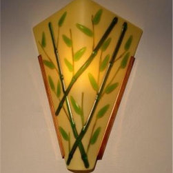 Soja, Beverly - Bamboo on Sand Sconce (V-ADA) - he bamboo stalks are green and there is a hint of amber in the thinnest  green branches. The entire piece is etched, providing a soft glossy  finish. Custom colors are available, e.g., black bamboo with green or  amber leaves, etc. Also, the background glass could be customized, e.g.,  dense white, driftwood gray, or other colors