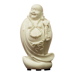 China Furniture and Arts - White Porcelain Happy Buddha - He is a symbol of happiness, wealth and an innocent contented joy. The stroking of Buddha's belly is said to signify bountiful wealth and prosperity. Believed to bring much luck, the laughing Buddha must always be invited into his new home, resulting in positive Chi and much happiness in return. Hand crafted in pure white porcelain. Stand sold separately.