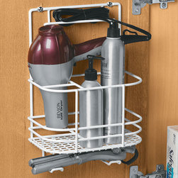Hair Care Rack - Hair care rack with several compartments of various sizes, and hooks on the bottom, for storing just about any hair care tools or products. Can be mounted either on your wall or inside the wall or door of a cabinet, making for easy and versatile storage - in plain sight or out of the way.