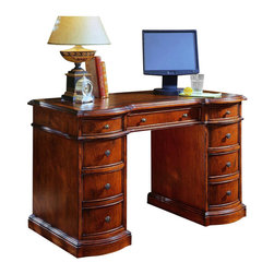Hooker Furniture - Hooker Furniture Brookhaven Knee-Hole Desk-Bow Front - Add this sophisticated desk into your home office for a rich Traditional look. Features: Material: Hardwood Solids with Cherry Veneers. Style: Traditional. Leather top . Seven drawers on steel ball bearing slides include two file drawers which take letter/legal files. Drop-front center drawer-Keyboard opening dimensions: 22W x 22 1/8D x 3 1/2H. Four utility drawers. Finished back. Kneehole opening: 22W x 22 3/8D x 24H. Finish: Cherry Veneer.