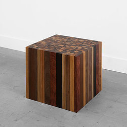 Stoolen Square by Uhuru - Creating something beautiful from practically nothing – this stool is made up of local workshops' throwaway scraps. The result is a solid block made up of a variety of beautiful wood pieces.