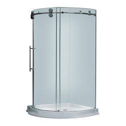 Vigo - Vigo 36 x 36 Frameless Round 5/16in.  Clear/Chrome Shower Enclosure Left-Sided D - Make your bathroom an oasis with a Vigo frameless round shower enclosure.