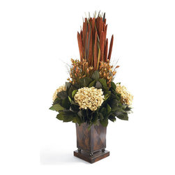 Frontgate - Autumn Fancy Floral Arrangement - Naturally preserved blooms and leaves. Hand arranged. Tall, square copper-finished vase. Never needs watering. Made in USA. The Autumn Fancy Floral Arrangement creates an impressive look wherever placed, including slender nooks and on grand foyer tables. A variety of naturally preserved pensularia, hydrangea, leaves, and other flora soar out of the tall copper-finished vase.  . . .  . .