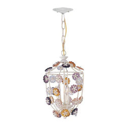 Crystorama Lighting - Crystorama Lighting 5313-AW Retro Eclectic Pendant in Antique White - Crystorama Lighting 5313-AW Retro Eclectic Pendant In Antique White With Multi Colored Rosettes Crystal