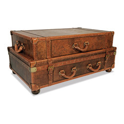 Stacked Steamer Cocktail Table - Classic trunks reminiscent of the golden years of travel make for a superbly unique coffee table that will inspire conversation on those cozy winter evenings in good company.