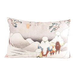 Poetic Pillow - Hiroshige Oi Pillow - Transform any space with a pillow from Poetic Pillow. Each pillow is inspired by fine works of art and printed on the front and back.   Covers are made of pre-shrunk satin-like polyester fabric. All seams are finished to prevent fraying and pillow covers have a knife edge finish.. A concealed zipper allows for ease of inputting pillow inserts.  A duck feather insert is included for soft yet supportive feel.  Cushion inserts are encased in a cotton cover and filled with 100% duck feather.  All research, design and packaging is completed in Oakland, California.