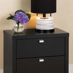 Prepac - 25 in. Nightstand with 2 Drawers - Metal glides with built-in safety stops. Clear lacquered real wood drawer sides. Stylish rectangular metal pulls in chrome. Sturdy MDF backer. Warranty: Five years. Made from CARB-compliant, laminated composite woods. Black finish. Made in North America. Drawer: 19.75 in. W x 12.5 in. D x 5 in. H. Overall: 25 in. W x 15.25 in. D x 22 in. HThe clean lines of the Series 9 Collection will enhance any modern decor. The Series 9 two drawer nightstand is the ideal height for any standard height bed while the drawers provide plenty of out-of-site storage.