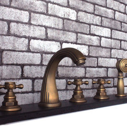 Luxury Antique Brass 5-piece Roman Tub Faucet Set With Hand Shower 6002F - Features: