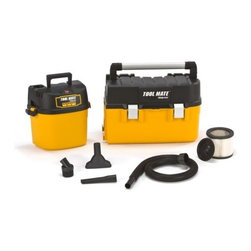 """SHOP VAC - VACS - 3880200 2.5-Gallon Tool Mate Shop Vacuum - 2-1/2 Gal. Wet/Dry Vacuum with Toolbox 2-1/2 Gal. Shop-Vac has removable tool box 2.5 peak horsepower. 120 volt motor has quiet operation with 120 CFM air flow 1-1/4"""" diameter hose size 18 foot cord length on/board accessory storage. Includes: 1-1/4"""" x 4 ft hose, gulper nozzle, crevice tool, round brush and cartridge filter. 3 year warranty. 3880200 2.5G Tool Mate Sho Vac"""