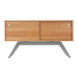 Eastvold Furniture - Elko Credenza Small, White Oak, Silver Base - This use-anywhere credenza takes midcentury design into the new millenium with sleek lines, ample storage and functionality in a range of colors to fit any taste and decor. Adjustable shelves and wire access hide behind the smooth sliding doors.
