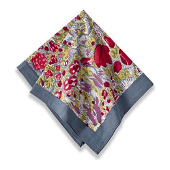 "Jardin Napkins, Red/Grey, 19""x19"""