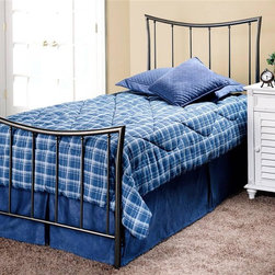 """Hillsdale - Edgewood Metal Panel Bed w Arched Headboard & - Choose Size: FullIncludes duo panel for twin and king bed, headboard and footboard for full and queen, and bed frame. Magnesium Pewter finish. Nightstand Mattress not included. Twin duo panel: 41 in. W x 1.25 in. D x 48 in. H. Twin/full frame: 54 in. W x 76 in. L. Full headboard: 56 in. W x 1.25 in. D x 48 in. H. Full footboard: 56 in. W x 1.25 in. D x 28 in. H. Queen headboard: 63 in. W x 1.25 in. D x 48 in. H. Queen footboard: 63 in. W x 1.25 in. D x 28 in. H. Queen/king frame: 83.5 in. L x 78 in. W. King duo panel: 78.5 in. W x 1.25 in. D x 48 in. HFeaturing the surprising combination of a traditionally shaped headboard with an inverted footboard, the Edgewood bed, in our Magnesium Pewter finish, is seemlessly crafted to fashion a truly graceful bed. Too soft to be contemporary, and too clean to be traditional, this bed fits beautifully in those in between"""" home decors."""""""