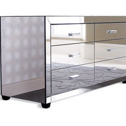 """Clairmonte"" Mirrored Dresser  - Storage doesn't have to be ho-hum!  The ""Clairmonte"" Mirrored Dresser takes storage to a new level with its glamorous mirrored design.Six-drawer dresser is crafted of select hardwoods with mirrored veneers. 60""W x 23""D x 32""T."