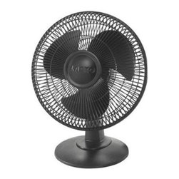 "Lasko Products - 12"" Table Fan 3 Speed Black - Black 12"" Table Fan with 3 Quiet Speeds Wide area oscillation Tilt-Back Feature Easy-Grip rotary control simple ""no tool"" assembly etl listed ideal for all rooms. This item cannot be shipped to APO/FPO addresses. Please accept our apologies."