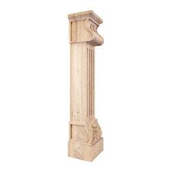 "Hardware Resources - Acanthus Fluted Fireplace/Mantel Corbel W/Shell Detail 8"" x 7"" x 36"" Alder - Acanthus Fluted Wood Fireplace / Mantel Corbel with Shell Detail.  8"" x 7"" x 36"".  Species:  Alder."
