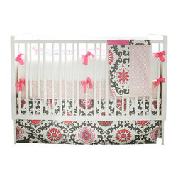 "Ragamuffin In Pink Baby Bedding Set 3 Piece Set - ""Raggamuffin in Pink Crib Bedding Set- 2 piece"