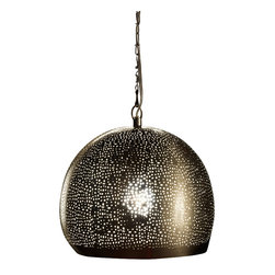Artemano - Hald Dome Shaped Pierced Metal Hanging Lamp - The handcrafted metal half dome pendant lamp casts a golden glow of ambient lighting in any room of the house. The perforated metal looks especially great above a dining room table, in a cozy bedroom or in an elegant home office.  It's the perfect suspended lamp for any space that could use extra sparkle and glamour.