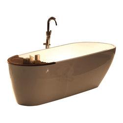 WS Bath Collections - Aquatech 3750+3751 Bathtub in Pietraluce - Aquatic 3750+3751 Free Standing Bathtub with Natural Teak Bath Shelf by Wes Bath Collections