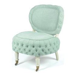 "Go Home Ltd - Go Home Wayland Chair - Just perfect for the little one in your life. For the spot that needs some charm, consider this lovely wood framed chair with a calming aqua linen-look polyester upholstery. Seat tufting and buttons circling the back offer sophisticated warmth. Dress it up with a pretty throw or accent pillow. (GH) 21"" wide x 25"" high x 19"" deep"