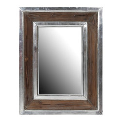 Privilege - Privilege Aluminum/ Wood Rectangle Mirror - Rustic and industrial influences combine to shape this fashionable wall mirror. Designed to work with a variety of decorating styles, this mirror features a lustrous aluminum frame with a grainy wood inset to add a finishing touch of texture to your home.