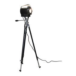 """Stage light-Vintage Thalhammer Tripod Floor Lamp, P28s Medium Prefocus Socket - VINTAGE Black BANTAM SUPER SPOT STAGE LIGHT in """"Excellent"""" condition mounted on an original vintage black & chrome Thalhammer tripod!"""