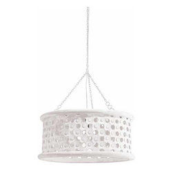"""Arteriors - Arteriors Home - Jarrod Small Washed Carved Mirror Pendant - 86719 - Transitional 1-light hand carved wooden drum shade pendant in whitewash finish with tiny perforations for detail and texture. Topped with an interior mirror border allowing light to disperse downward and through the holes across the surface. Features: Jarrod Collection Carved Mirror Pendant Whitewash finish Some Assembly Required. Dimensions: H 10"""" x 22"""" Dia"""