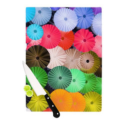 """Kess InHouse - Heidi Jennings """"Parasol"""" Paper Circle Cutting Board (11"""" x 7.5"""") - These sturdy tempered glass cutting boards will make everything you chop look like a Dutch painting. Perfect the art of cooking with your KESS InHouse unique art cutting board. Go for patterns or painted, either way this non-skid, dishwasher safe cutting board is perfect for preparing any artistic dinner or serving. Cut, chop, serve or frame, all of these unique cutting boards are gorgeous."""
