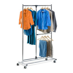 Honey Can Do - 80 in. Dual Bar Chrome Adjustable Garment Rac - Hang long and short garments. Dual bar adjustable rack. Durable and rust-resistant. Easy moves with casters. Lifetime limited warranty. Made from steel. Chrome finish. Minimal assembly required. 45.25 in. W x 19 in. D x 74 in. H (11 lbs.) A great full-featured garment rack, this unit provides extra hanging space by offering space for both shorter and longer hanging items like coats and dresses