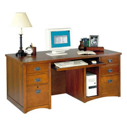 Martin - kathy ireland Home by Martin Bungalow Computer Desk with Storage - MO685/M - Shop for Desks from Hayneedle.com! The six drawers on this Bungalow Computer Desk with Storage by Kathy Ireland allow ample storage for documents and office supplies; two of these drawers include handy features including dividers and a surge protector. The desk also features a large workspace on top a pull-out keyboard shelf and a vertical storage compartment for easy access to your CPU.The Bungalow Computer Desk by Kathy Ireland features a rustic Mission style for either your traditional or modern home.Delivery Notice: This item includes in-home delivery to the room of your choice including up to two flights of steps and/or elevator. The product is unpacked debris is removed and basic setup without tools is included. Full assembly service typically involves additional charges payable prior to delivery. Special service arrangements may be made directly with the freight carrier when they call you for your delivery appointment.About Martin FurnitureMartin Furniture was founded in 1980 by Gil Martin in the San Diego suburb of El Cajon. Martin started the company in his garage with $400 a Craftsman table saw and the business knowledge he gained from working for defense contractor General Dynamics. The company specializes in American-made and -imported office and home entertainment furniture as well as the furniture designs for the Kathy Ireland Home Collection. Martin also imports from overseas ensuring you the best value.