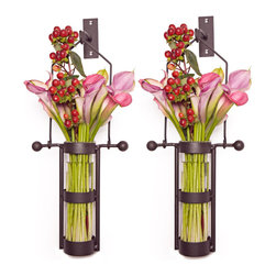 Danya B - Set of 2 Wall Mount Hanging Glass Cylinder Vase with Metal Cradle/Hook - This gorgeous Set of 2 Wall Mount Hanging Glass Cylinder Vase with Metal Cradle/Hook has the finest details and highest quality you will find anywhere! Set of 2 Wall Mount Hanging Glass Cylinder Vase with Metal Cradle/Hook is truly remarkable.