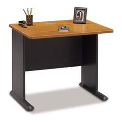 Bush Business - 36 in. Computer Workstation in Medium Cherry - This is an unusually good-looking student computer desk, thanks to its cherry finished diamond coat surface which is fully stain resistant.  The frame has steel inserts for solidity and the desk also allows cable concealment in its top and leg.  A range of upgrade options make this a practical option for any study or work area.  This great-looking and versatile Medium Cherry Finished Computer Desk features a scratch and stain resistant Diamond Coat� top surface and PVC edge banding for long-lasting durability.  When you need to economize on space, we recommend our 36in. * Scratch and stain resistant Diamond Coat� top surface. Steel insert in molded feet w levelers. Wire access/concealment in top an leg. More leg room with C-leg design. Edge PVC banding. Medium cherry finish. 35.590 in. W x 26.811 in. D x 29.764 in. H