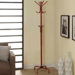 Monarch - Red Metal 70in.H Coat Rack - Let this bright red metal coat rack enhance your home with excellent functionality. With 2 tiers of hooks, there are plenty of hooks to hang your coats, hats, and even your umbrella. A beautiful finial on top adds a touch of class to this fashionable coat rack.