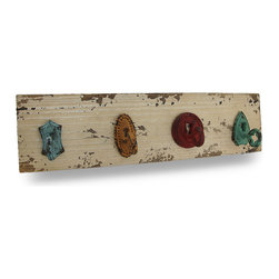 Zeckos - Shabby Chic Colorful Cast Iron Keys Wooden Wall Hook - This wall hook hanging will add a charming, antique accent to your home or office It features 4 colorful cast iron hooks mounted on a wood base that look like antique keys in locks, and act as hooks for hanging anything from coats or jackets in an entryway, to robes or towels in a bathroom or pool changing area. Measuring 17 inches (43 cm) long, 4.5 inches (11 cm) high and 3.5 inches (9 cm) deep, it boasts a beautiful shabby chic finish, and easily mounts to the wall using the attached keyhole hangers on the back. It's a lovely addition in any room, and makes a wonderful housewarming gift sure to be enjoyed