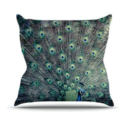 "Kess InHouse - Ann Barnes ""Majestic"" Peacock Feather Throw Pillow (20"" x 20"") - Rest among the art you love. Transform your hang out room into a hip gallery, that's also comfortable. With this pillow you can create an environment that reflects your unique style. It's amazing what a throw pillow can do to complete a room. (Kess InHouse is not responsible for pillow fighting that may occur as the result of creative stimulation)."