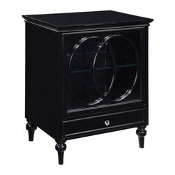 Sterling Industries - Sterling Industries 6042317 Claremore Cabinet - All Purpose Cabinet With A Cut Oval Pattern In Black On The Full Glass Front Door.  A Convenient Drawer Under The Cabinet Space And A Glass Shelf Inside Make This Piece Both Functional And Eye Catching.  Made Of Plantation Grown Hardwoods, Other Wood Prod  Cabinet (1)