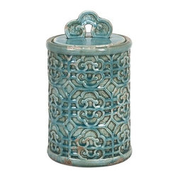 "IMAX - Kendall Teal Canister- Medium - Bring a taste of the orient to your home. This medium Kendall Teal Canister's vibrant color can brighten your home. Item Dimensions: (11.5""h x 7""w x 7"")"