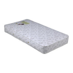 Child Craft - Child Craft Innerspring Crib Mattress - 52 in. L x 27.50 in - A double layer of padding adds an extra layer of comfort to this crib mattress, making it a great choice for helping your baby drift off to sleep. Enhanced by a durable antibacterial vinyl cover that can easily be wiped clean, the mattress is tear resistant and features secure metal vents that allow air to circulate. 88 Innerspring coils. Double layers of padding on top of innerspring provide extra support and comfort. Durable edge stitching. Heavy duty antibacterial vinyl mattress cover is tear resistant and washable for easy care. Secure metal vents allow air to circulate throughout the mattress. Made in USA. 1 Year manufacturer warranty. 52 in. L x 27.50 in. W x 6 in. H (19 lbs.)Durable innerspring crib mattress provides needed support for baby while providing a comfortable sleeping surface. The vinyl cover is wet-proof, antibacterial for easy care and pureness.