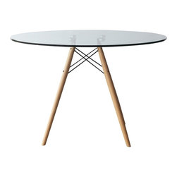 """Lemoderno - Fine Mod Imports  WoodLeg Dining Table 42"""", Clear - The Woodleg Dining Table is a truly comfortable Table, it has a 28"""" high Base and with glass top, supported by an elegant Wood/Wire Base. Clear Glass Top with Wood Legs    Assembly Required"""